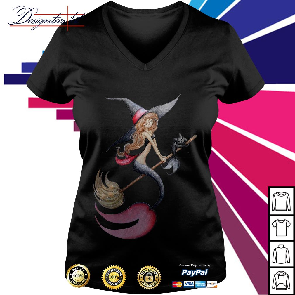 Halloween witch mermaid is riding a broom with her cat V-neck T-shirt