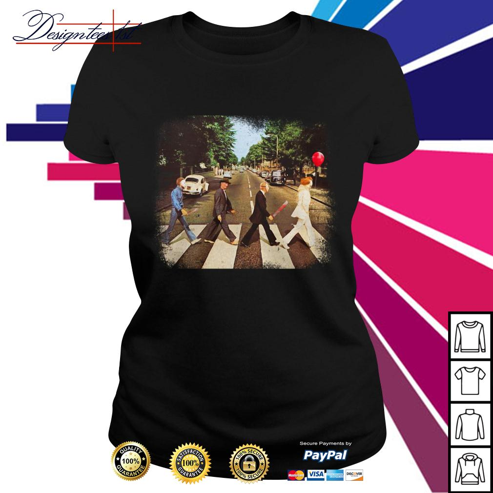 Horror movie characters walking Abbey Road Ladies Tee