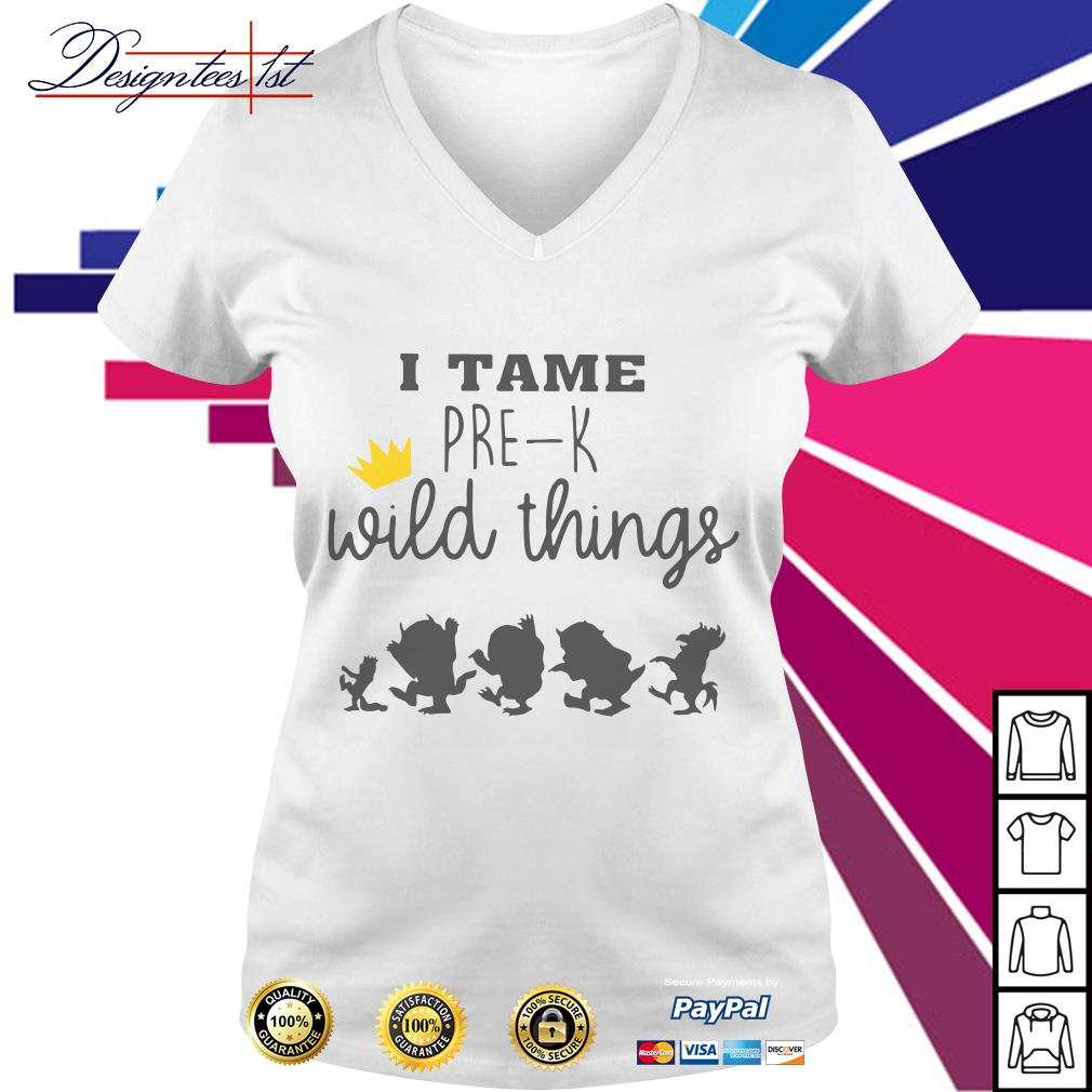I tame pre-k wild things V-neck T-shirt