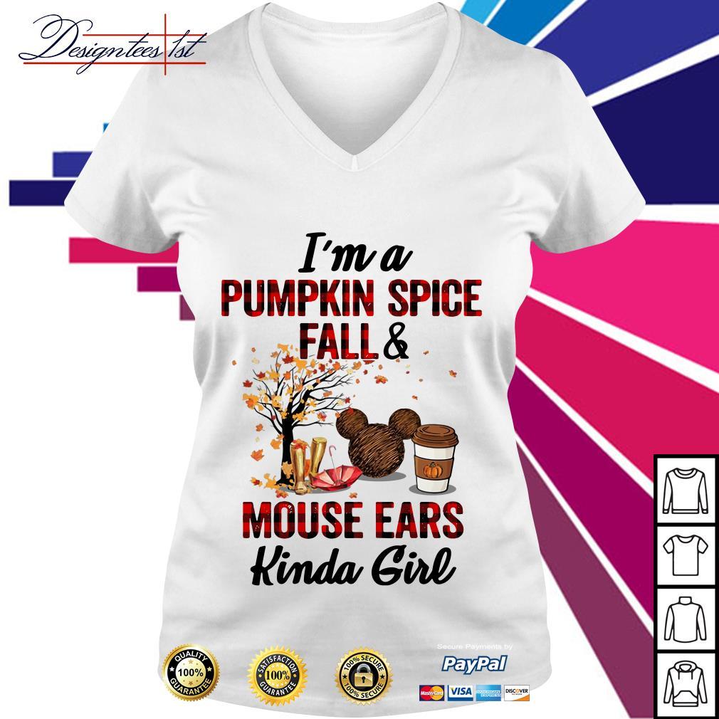 I'm a pumpkin spice fall and mouse ears kinda girl V-neck T-shirt