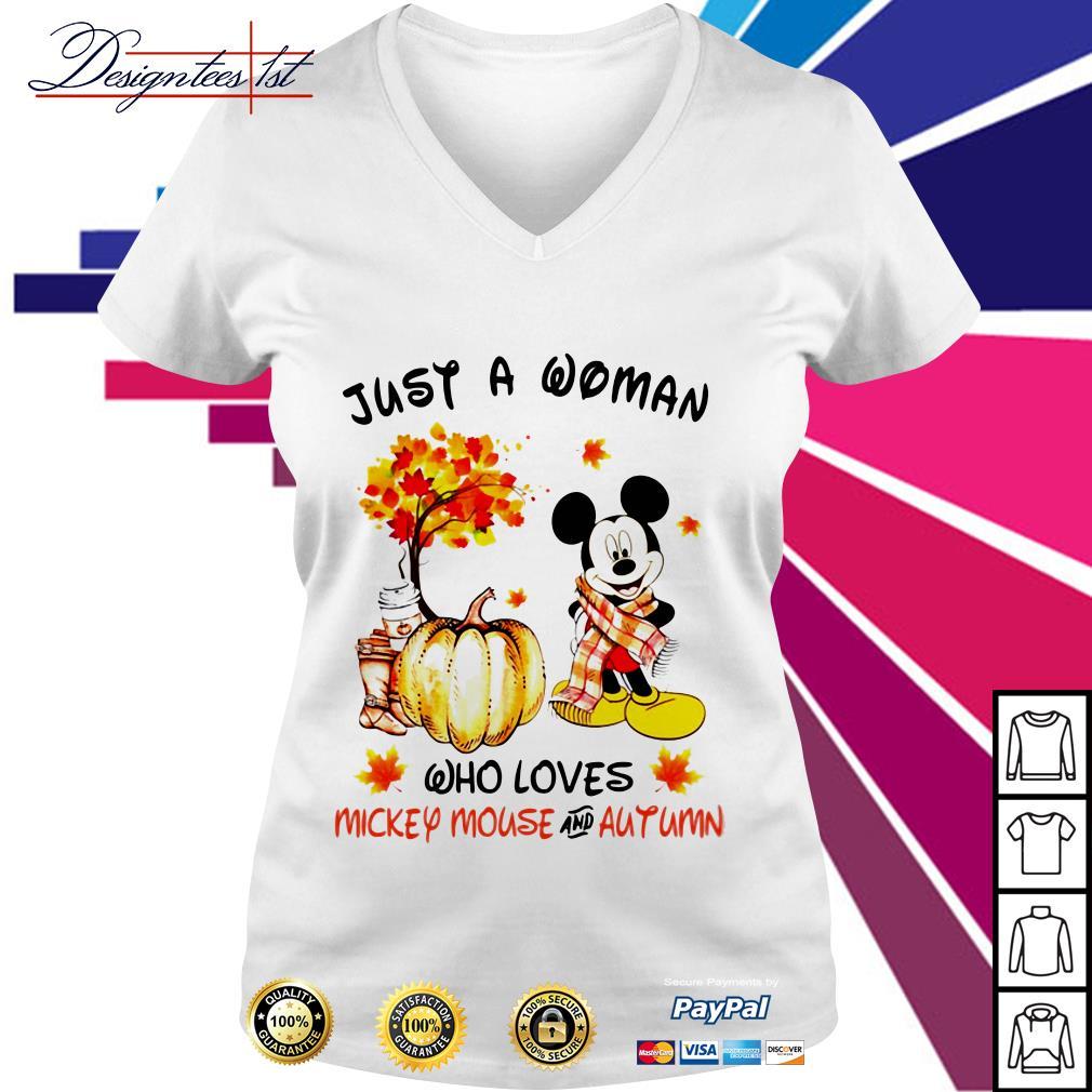 Just a woman who loves Mickey Mouse and autumn V-neck T-shirt