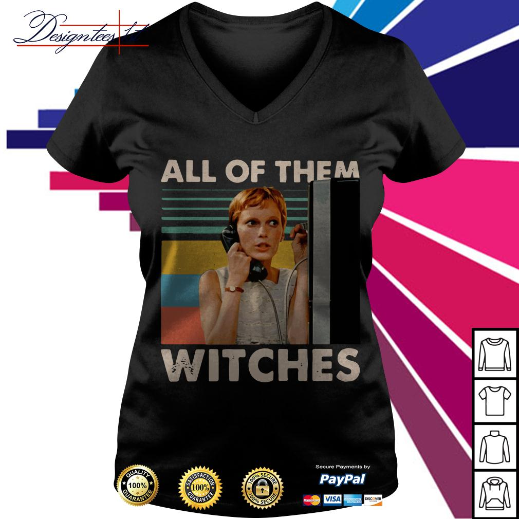 Mia Farrow in Rosemarys Baby all of them witches vintage V-neck T-shirt