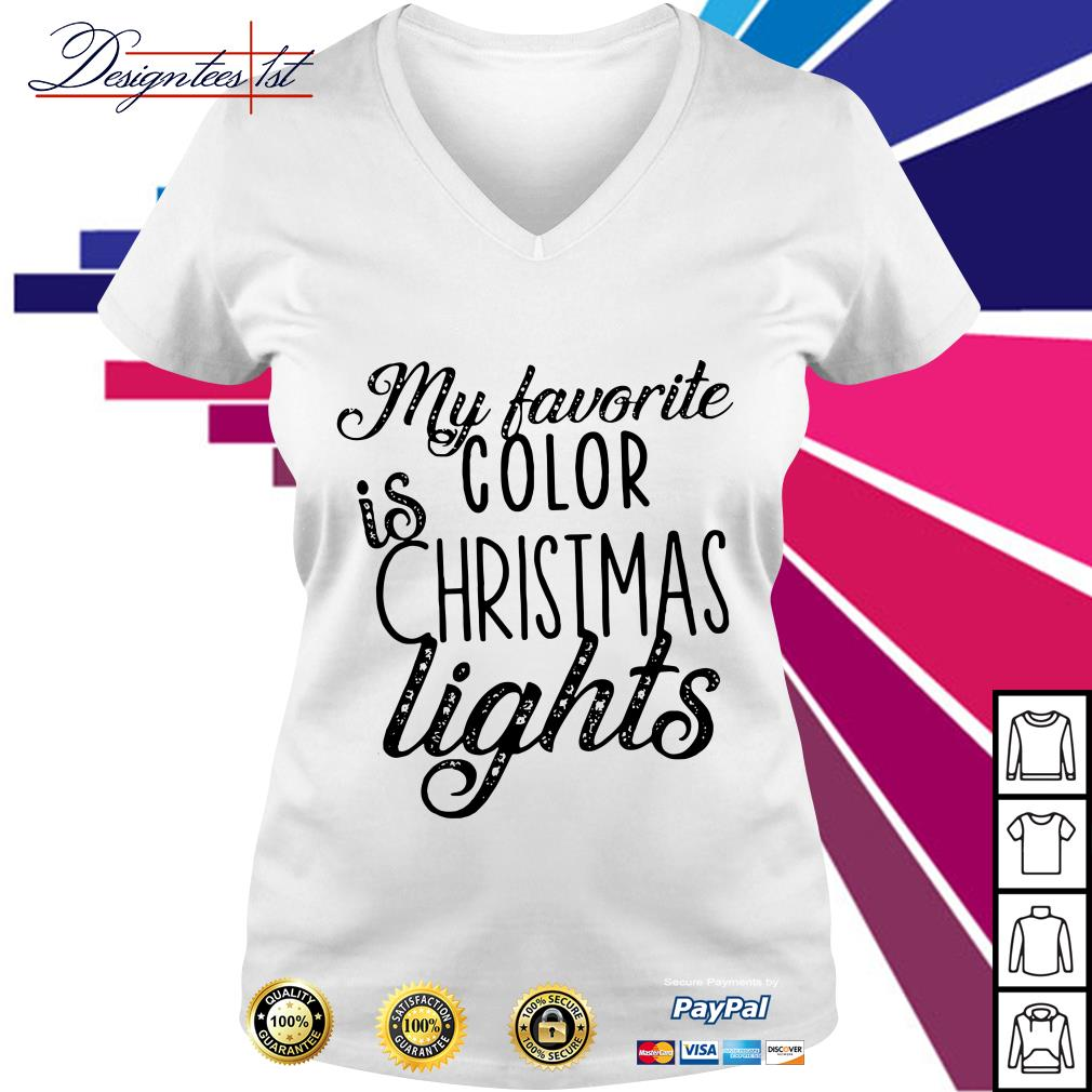 My favorite color is Christmas lights V-neck T-T-shirt