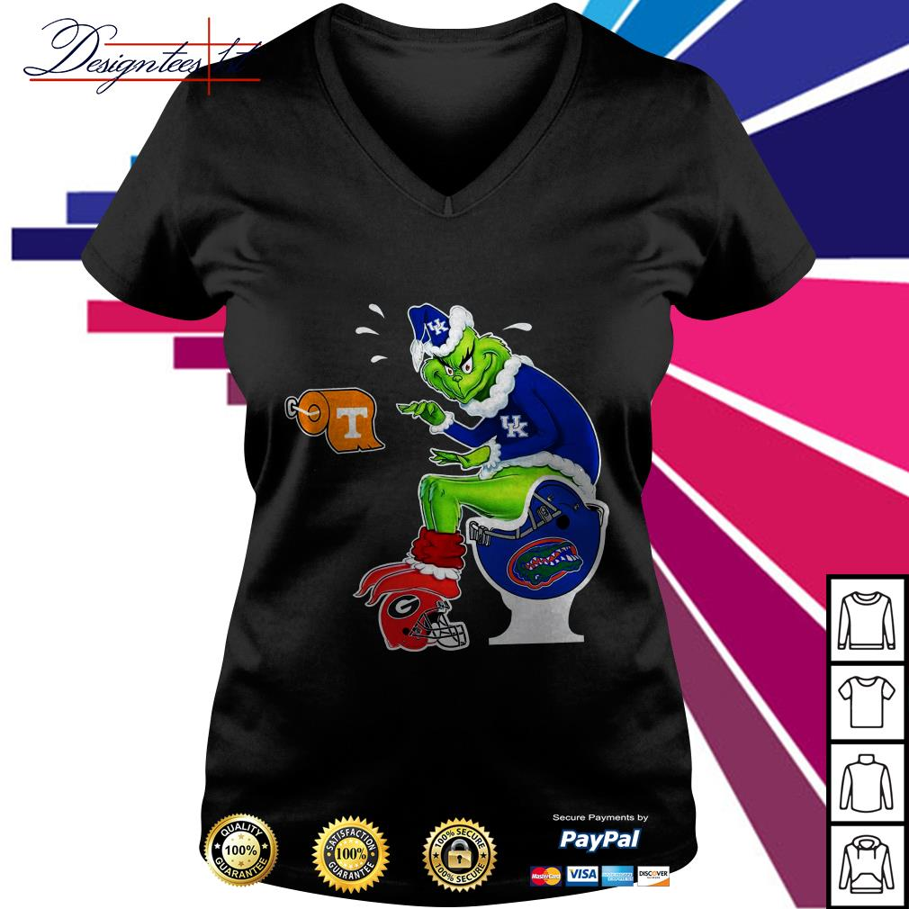 New York Yankees Grinch toilet V-neck T-shirt