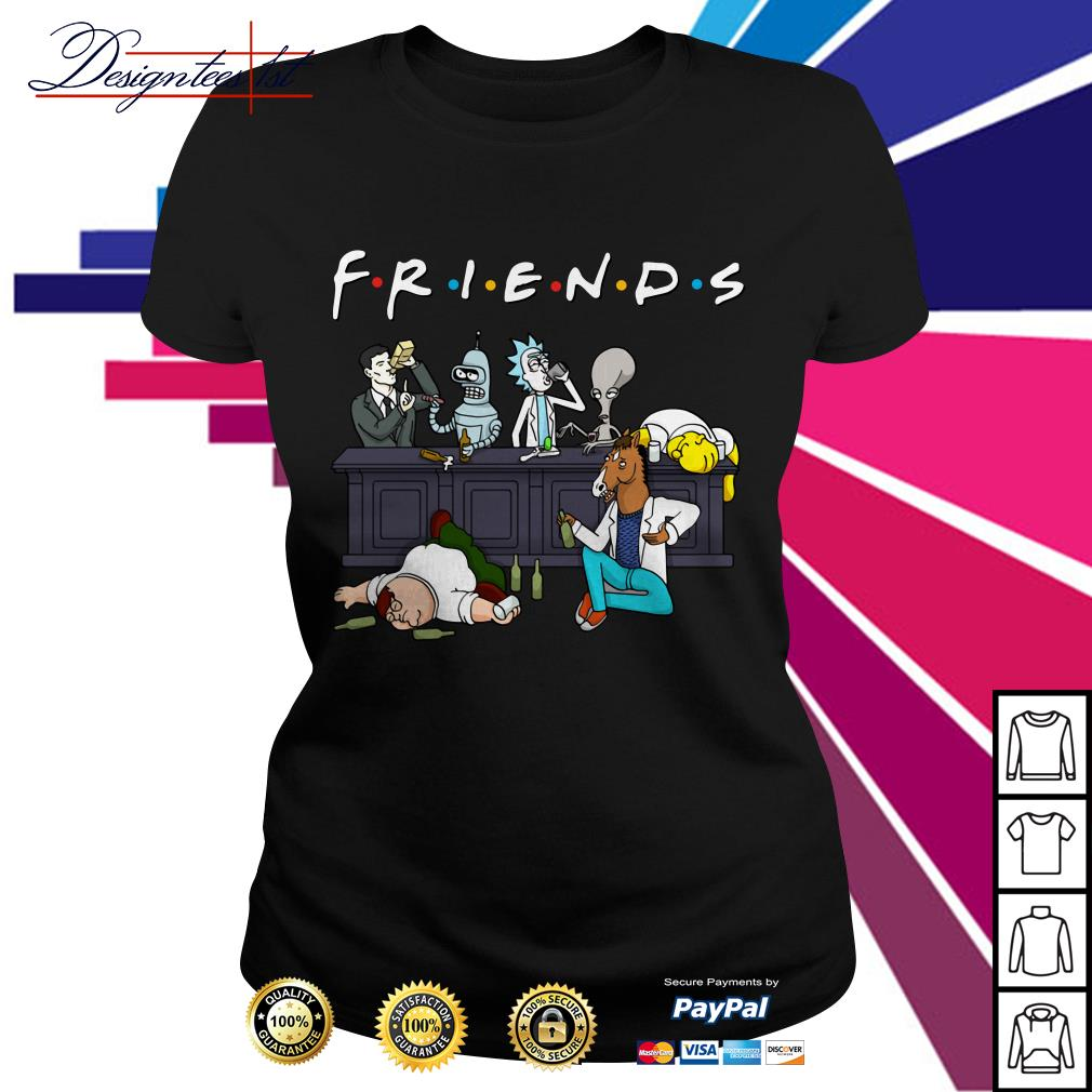 Nice Cartoon characters on Netflix Friends Ladies Tee