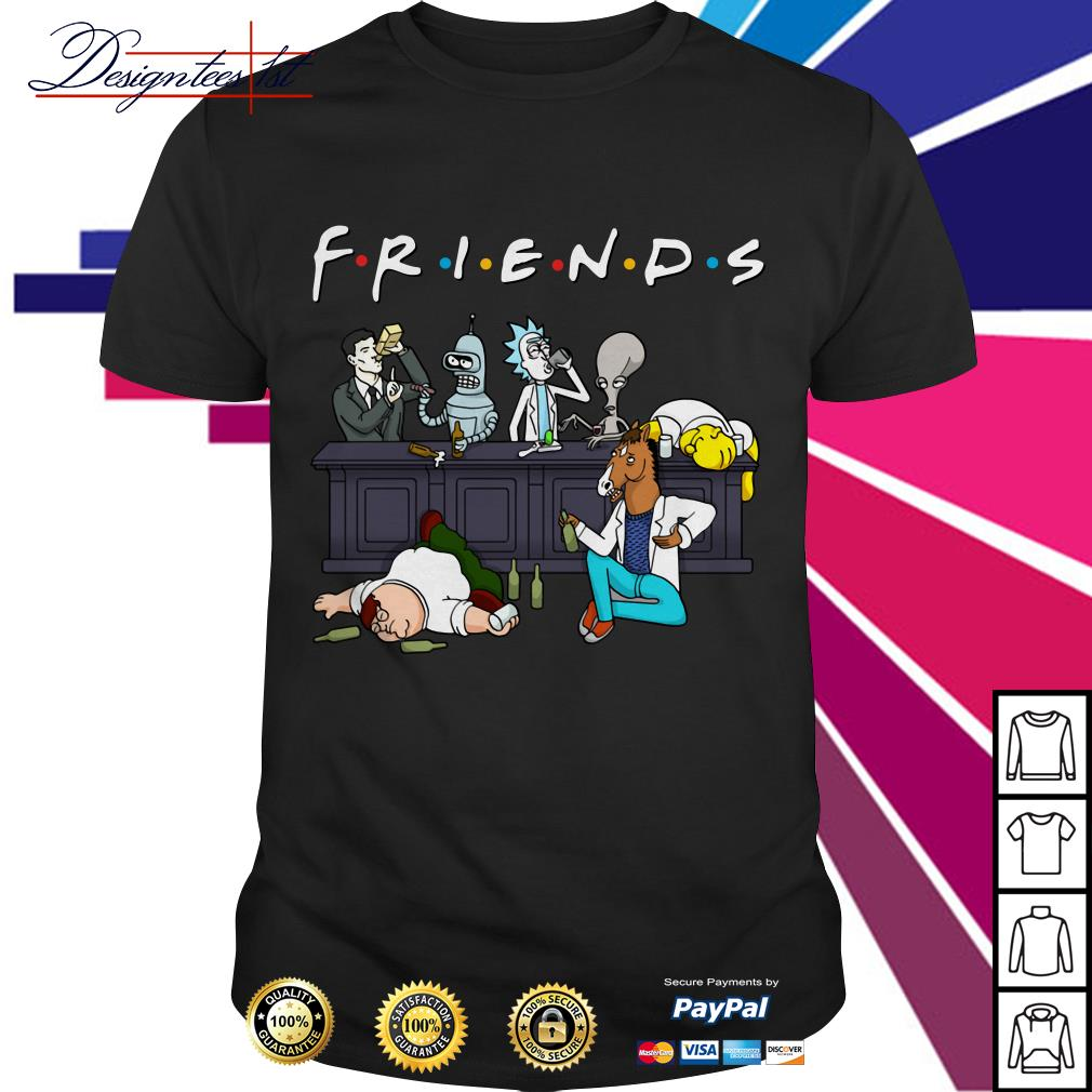 Nice Cartoon characters on Netflix Friends shirt
