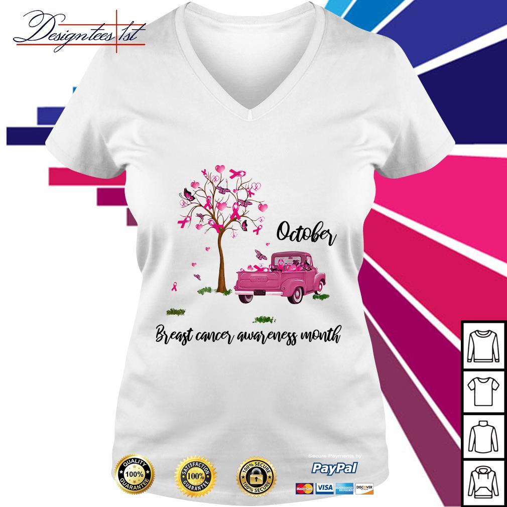 October breast cancer awareness month V-neck T-shirt