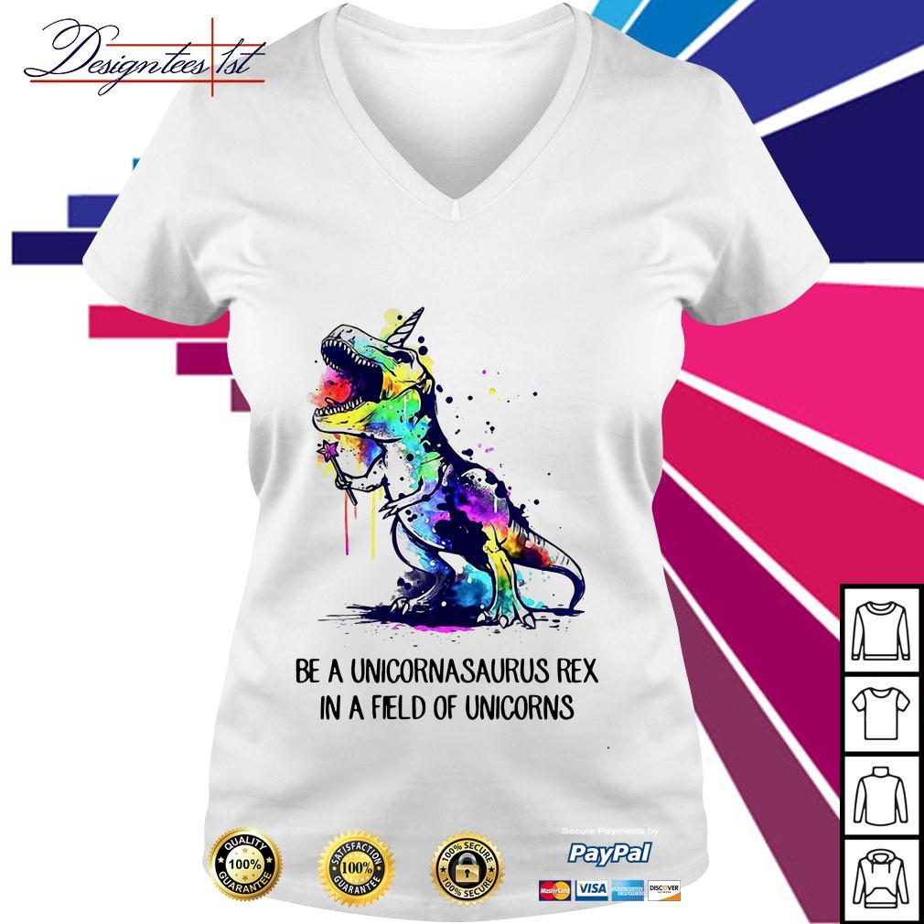 Be a unicornasaurus rex in a field of unicorns watercolor version V-neck T-shirt