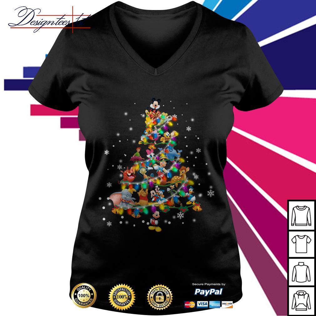2019 Disney Cartoon characters Christmas tree V-neck T-shirt