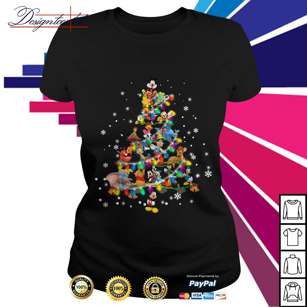 2019 Disney characters Christmas tree Ladies Tee