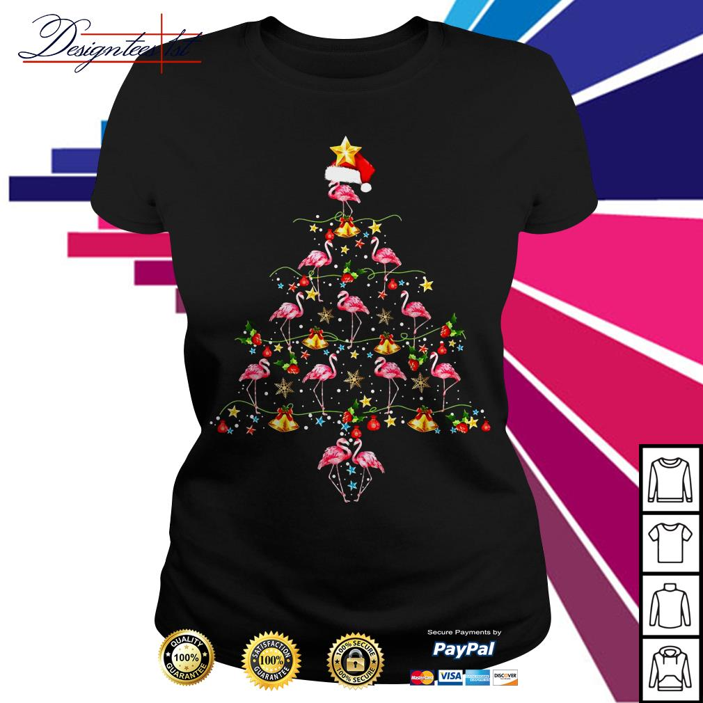2019 Merry Christmas Flamingo tree Ladies Tee