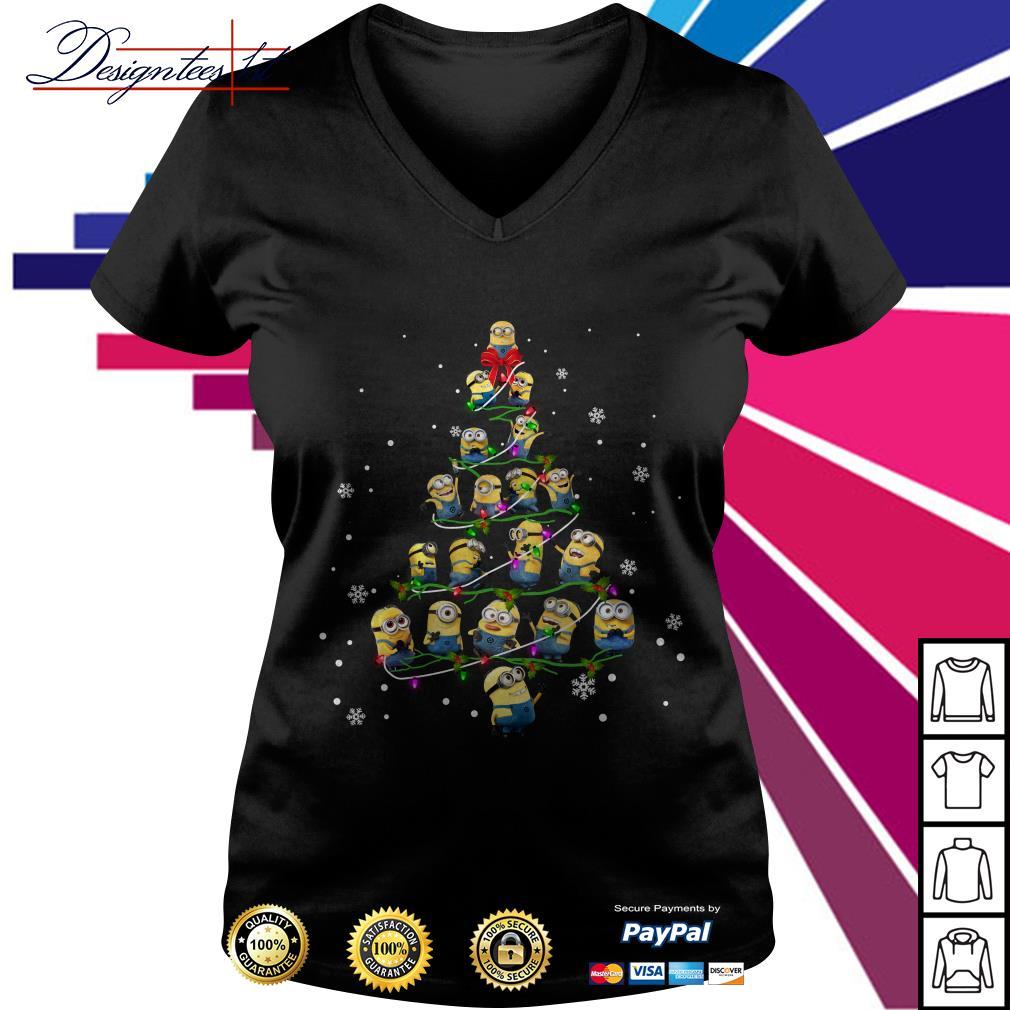 2019 Merry Christmas Minion Christmas tree V-neck T-shirt