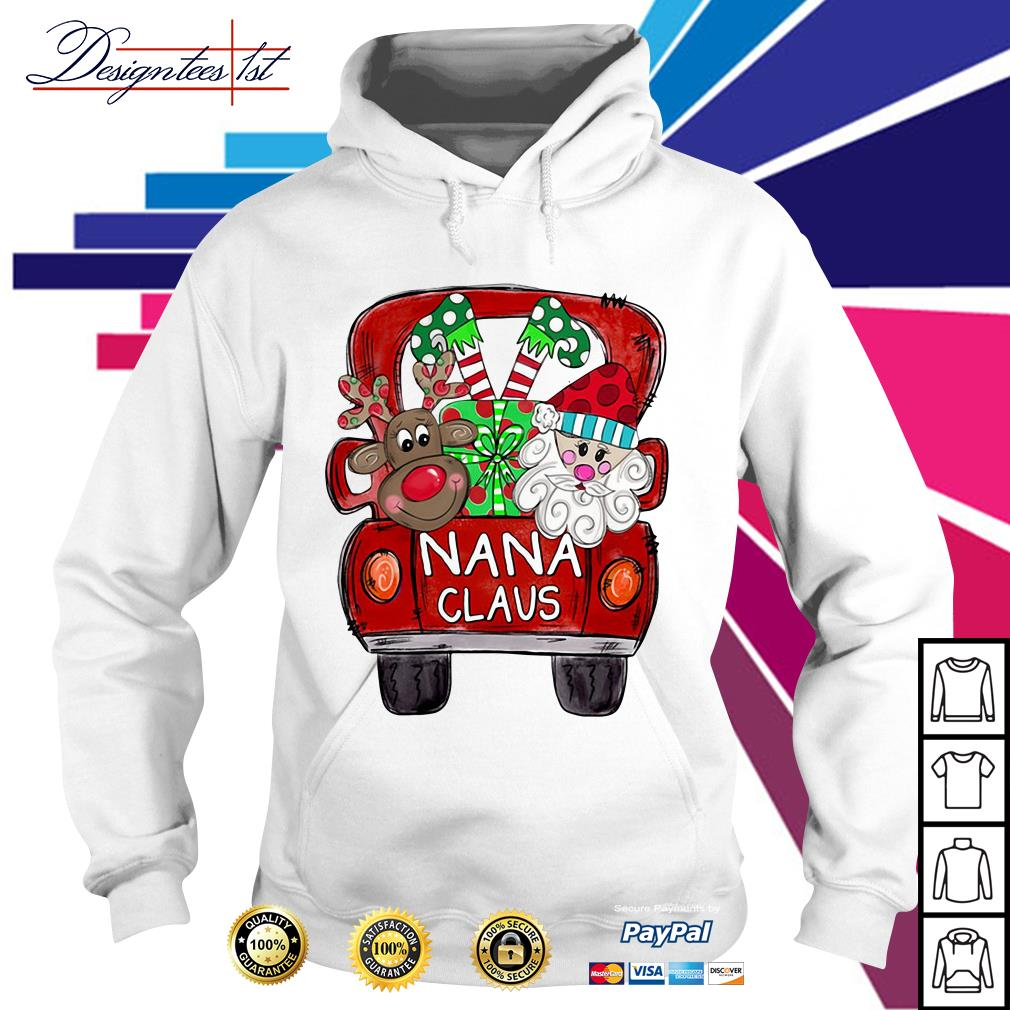 2019 Merry Christmas Red car and gift Nana Claus Hoodie