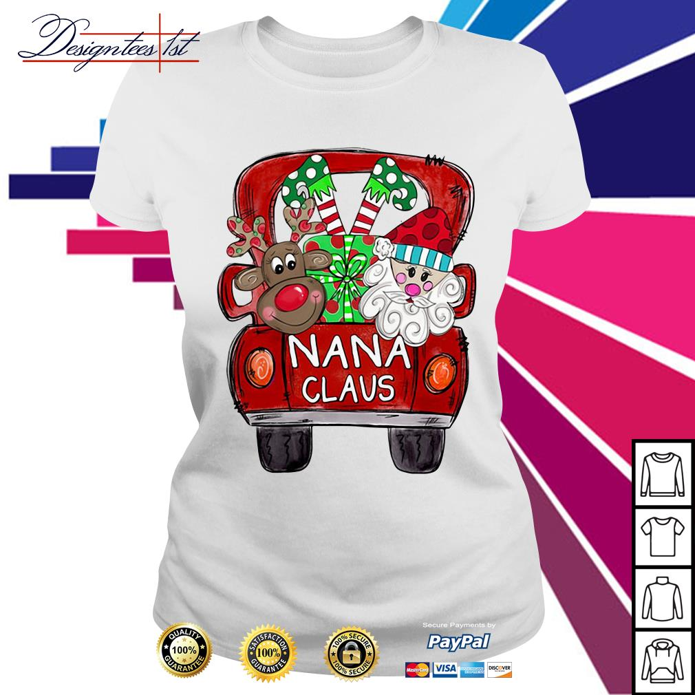 2019 Merry Christmas Red car and gift Nana Claus Ladies Tee