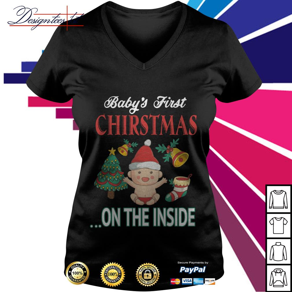 Baby's first Christmas on the inside V-neck T-shirt