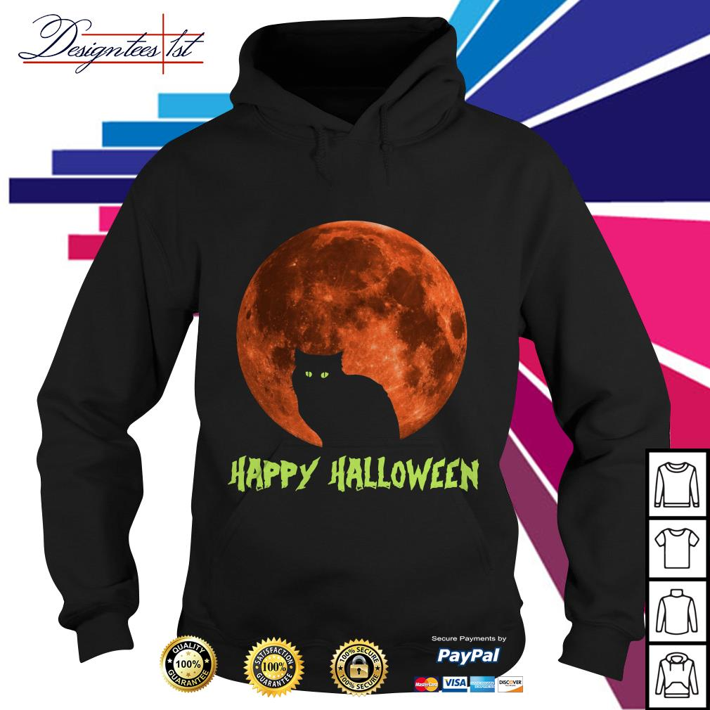 Cat in moon happy Halloween Hoodie