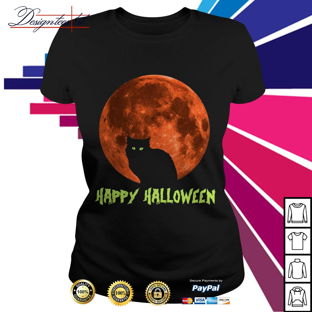 Cat in moon happy Halloween Ladies Tee