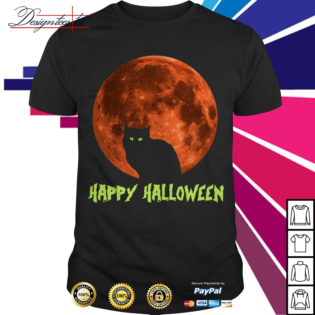 Cat in moon happy Halloween shirt