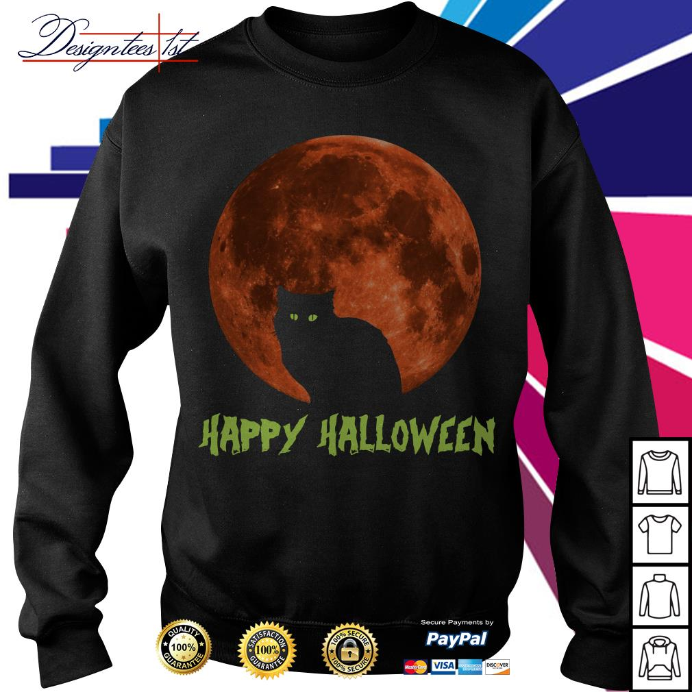 Cat in moon happy Halloween Sweater