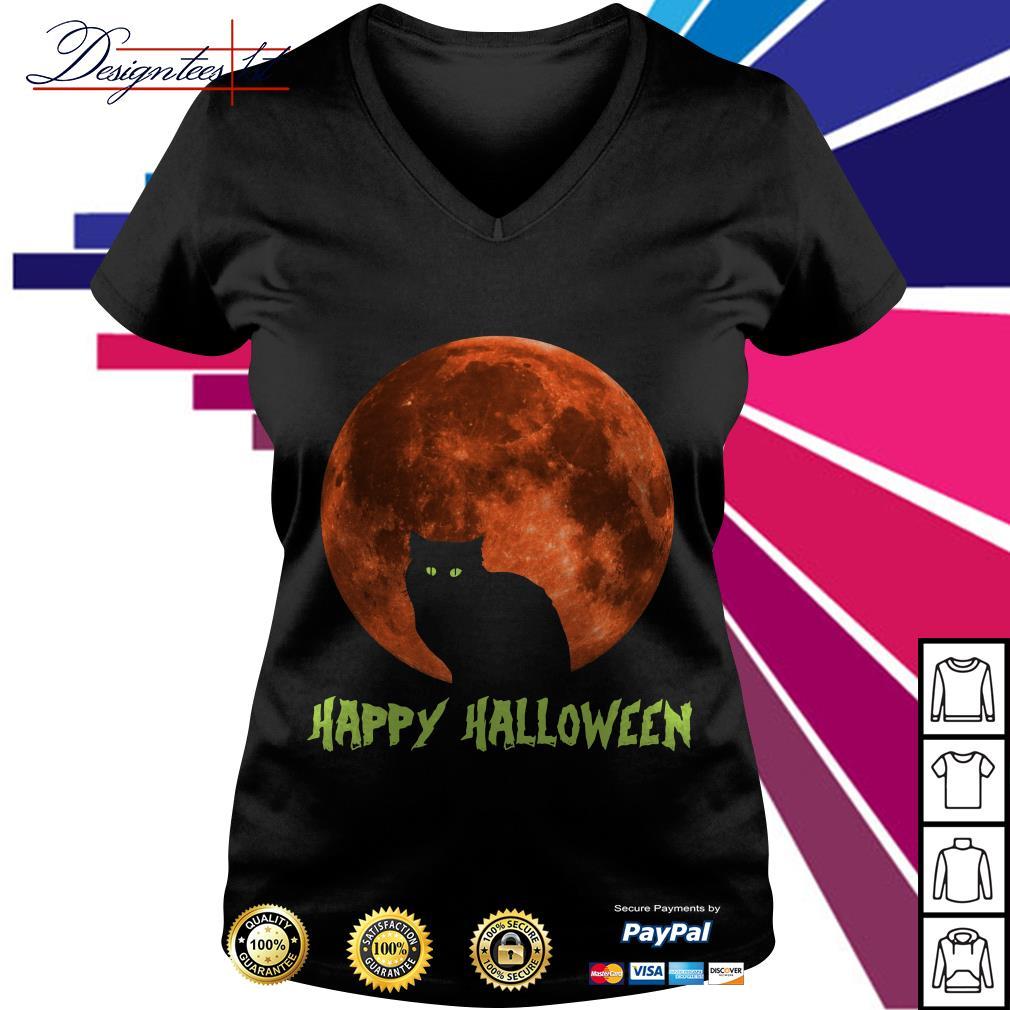 Cat in moon happy Halloween V-neck T-shirt
