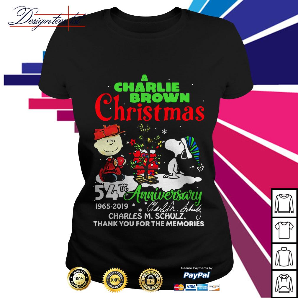 A Charlie Brown and Snoopy Christmas 54th anniversary 1965 2019 signature Ladies Tee