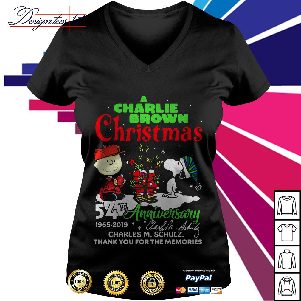 A Charlie Brown and Snoopy Christmas 54th anniversary 1965 2019 signature V-neck T-shirt