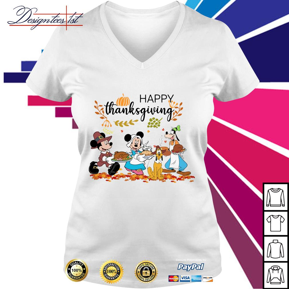 Disney happy thanksgiving V-neck T-shirt