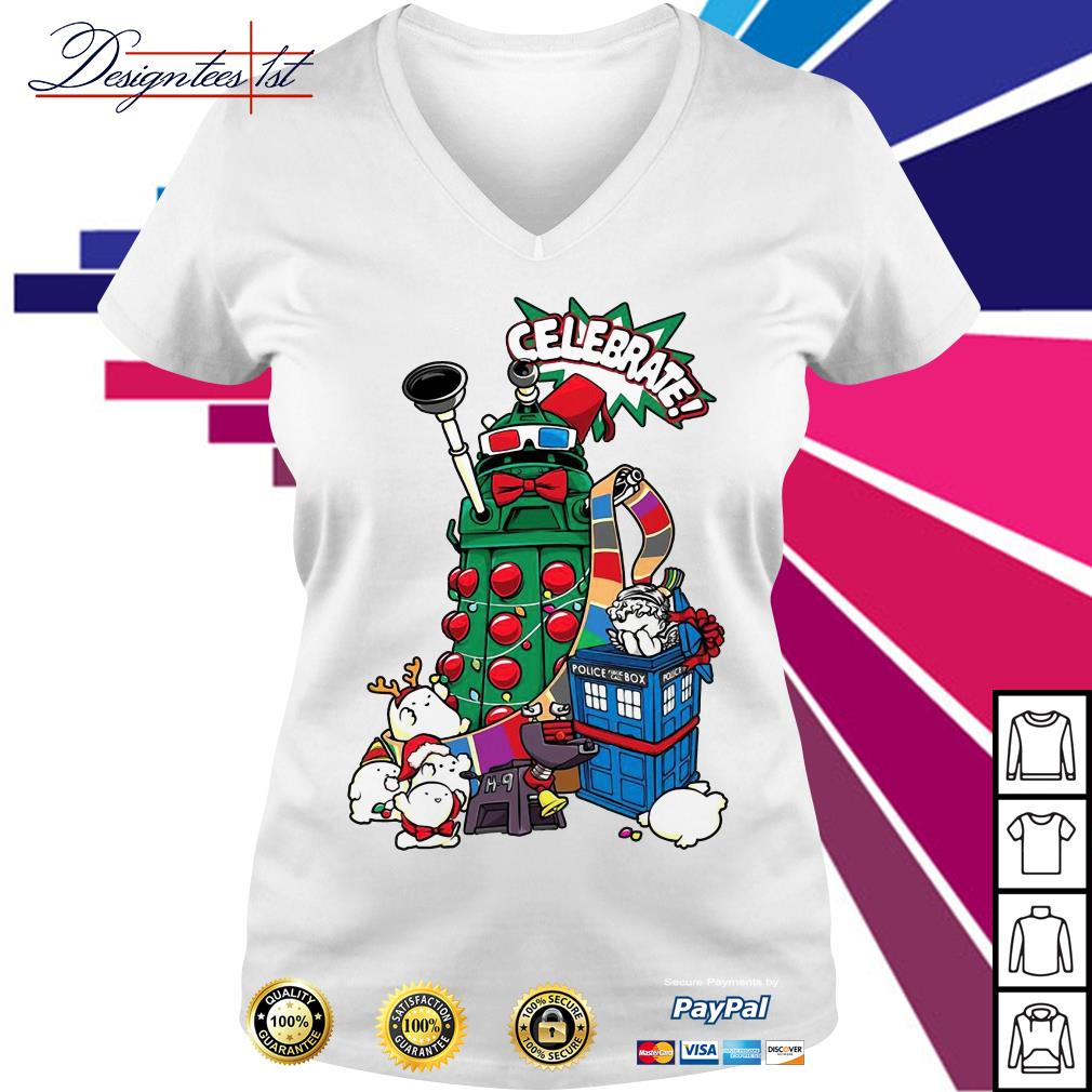 Doctor Who celebrates Christmas V-neck T-shirt
