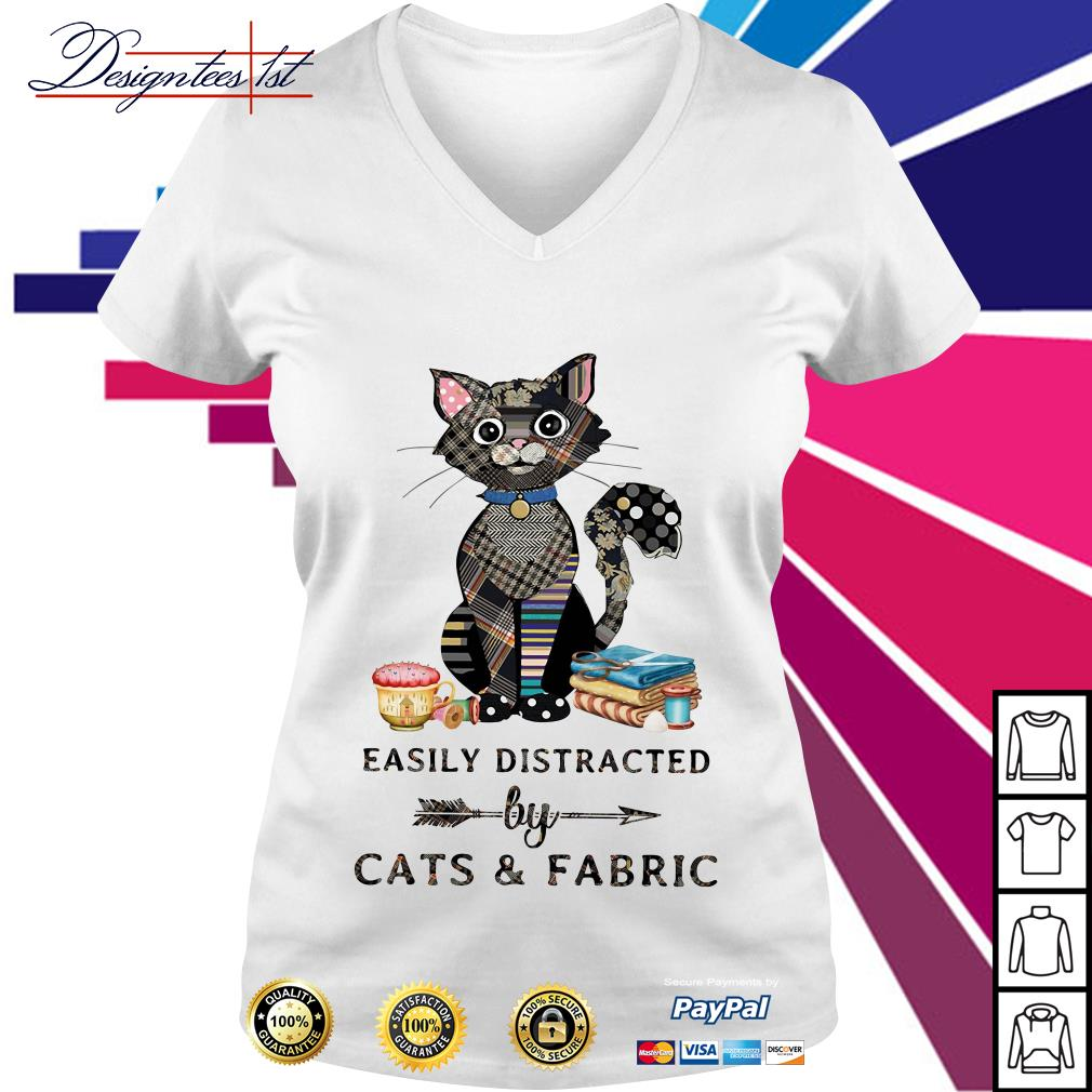 Easily distracted by cats and fabric V-neck T-shirt