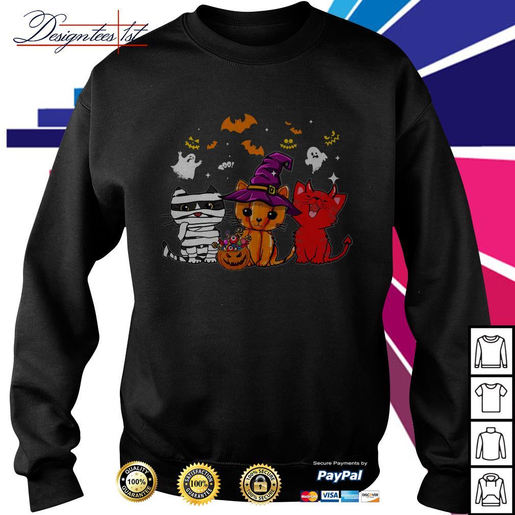 Halloween boo cats pumpkin ghost Sweater