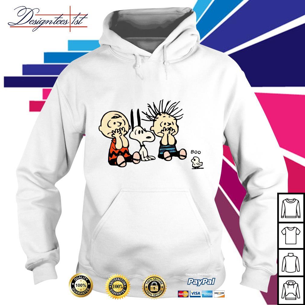 Halloween Boo Snoopy Charlie Brown and Linus Van Pelt Frightened of ghost Hoodie