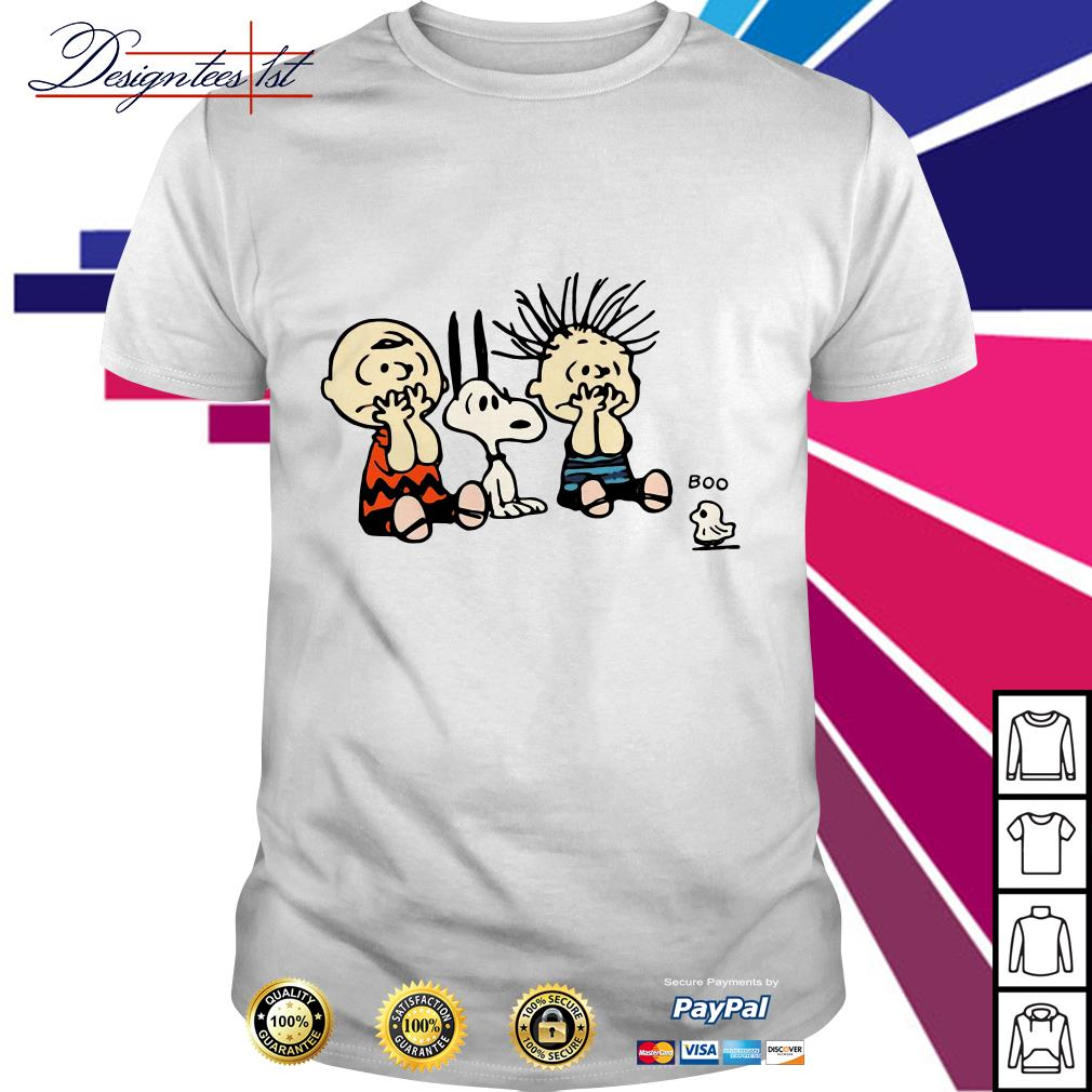 Halloween Boo Snoopy Charlie Brown and Linus Van Pelt Frightened of ghost shirt