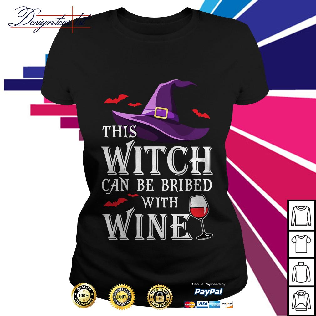 Halloween witch can be bribed with wine Ladies Tee