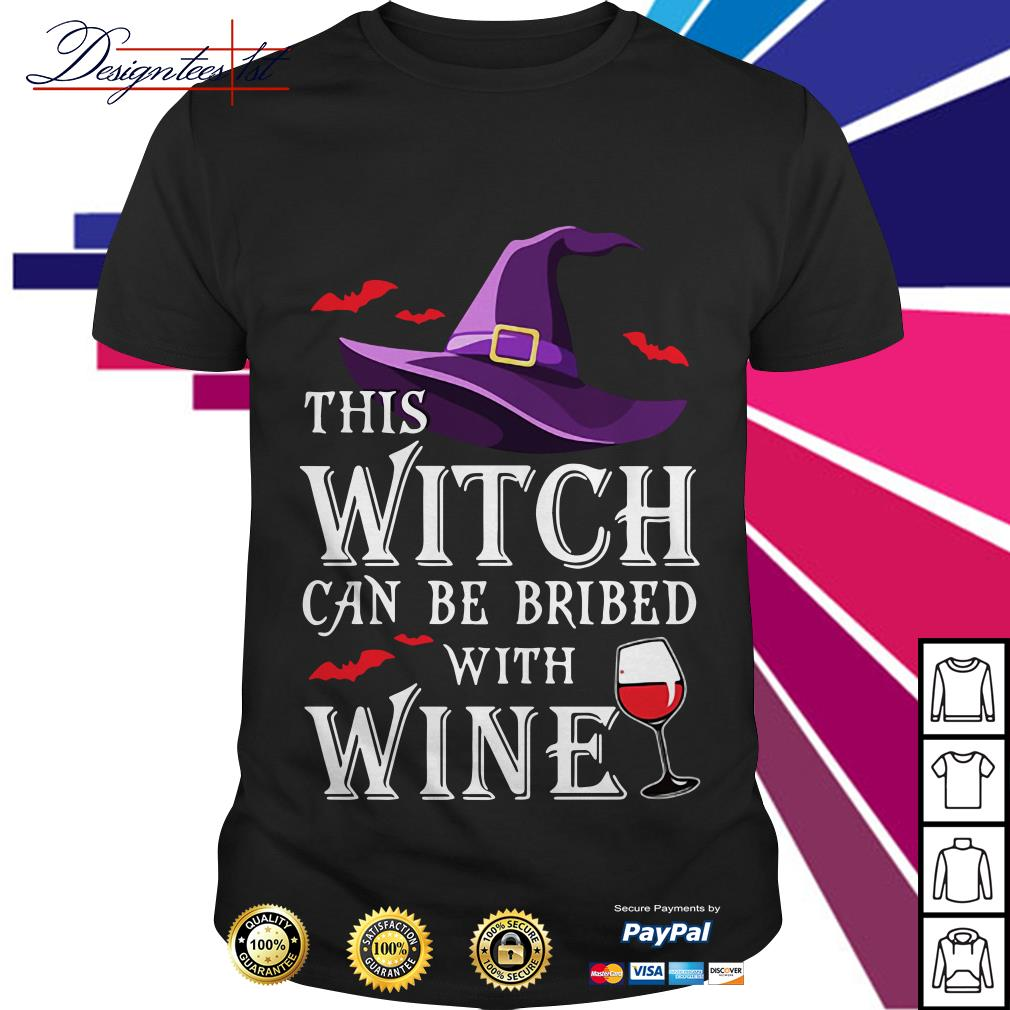 Halloween witch can be bribed with wine shirt