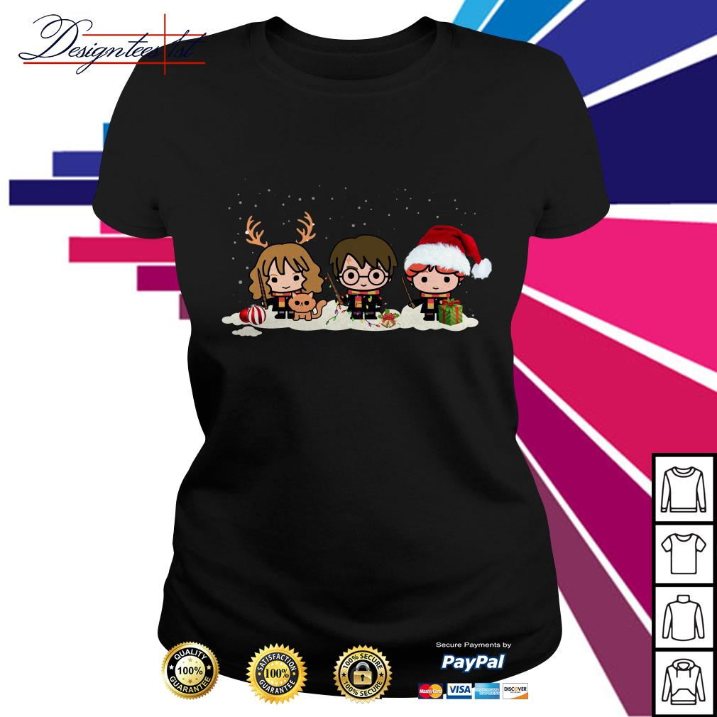 Harry Potter chibi characters Christmas Ladies Tee