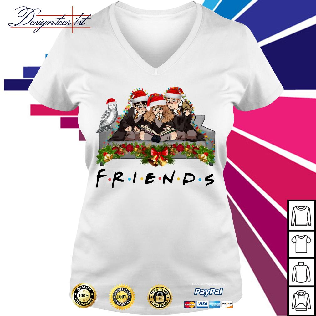 Harry Potter Hermione and Ron Weasley Christmas friends TV show V-neck T-shirt