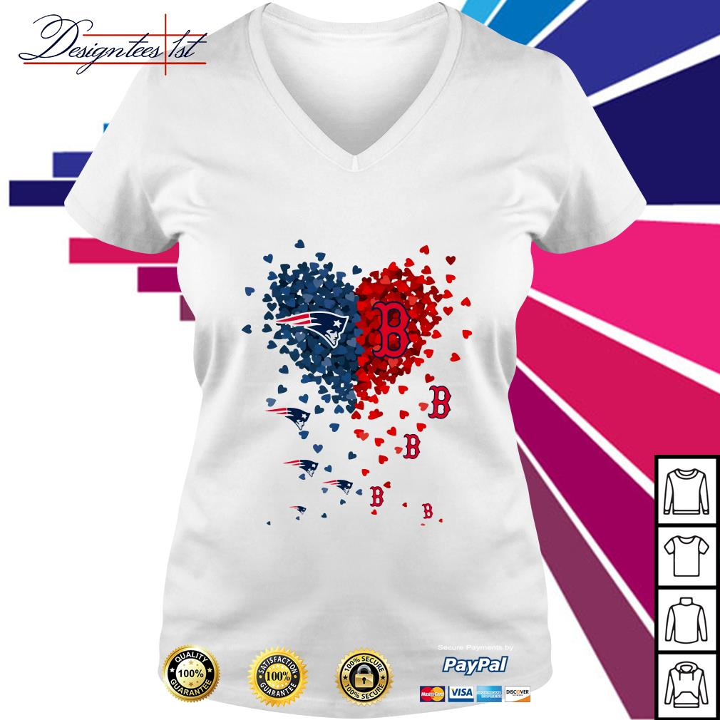 I love New England Patriots Boston Red Sox V-neck T-shirt