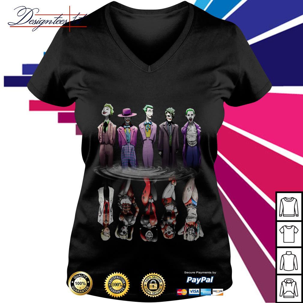 Joker And Harley Quinn Reflection Mirror Water V-neck T-shirt