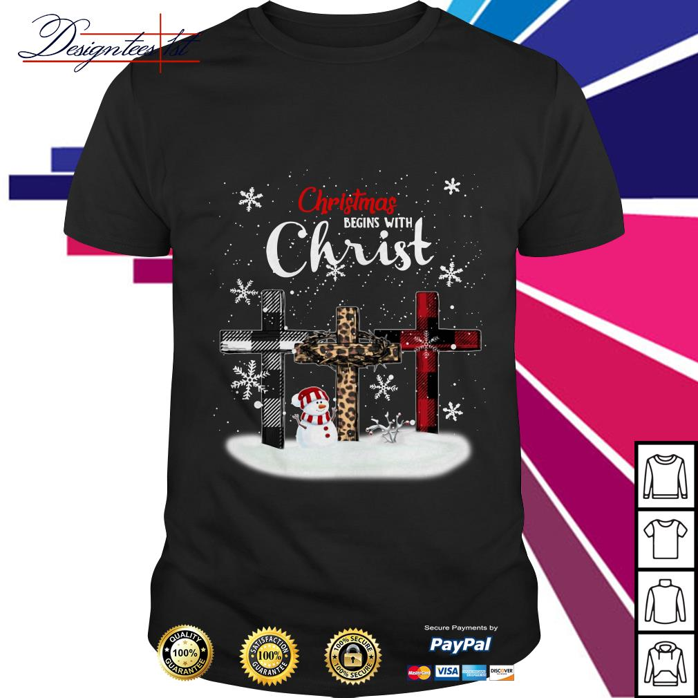 Merry Christmas begins with Christ snowman shirt, sweater