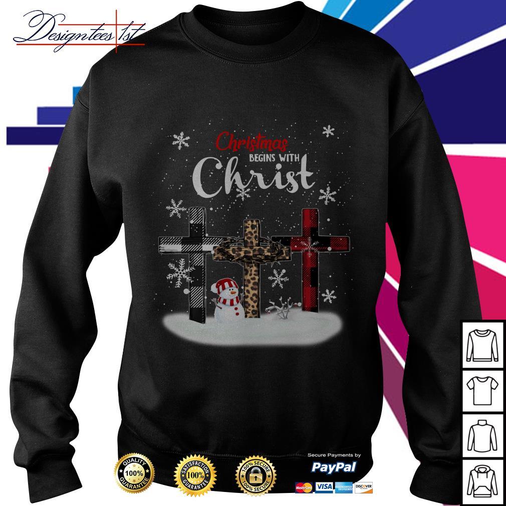 Merry Christmas begins with Christ snowman shirt, sweater