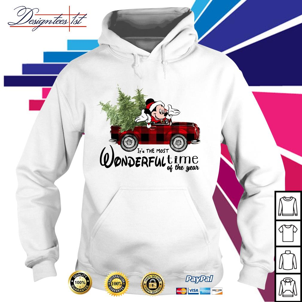 Merry Christmas Mickey red car it's the most wonderful time of the year Hoodie