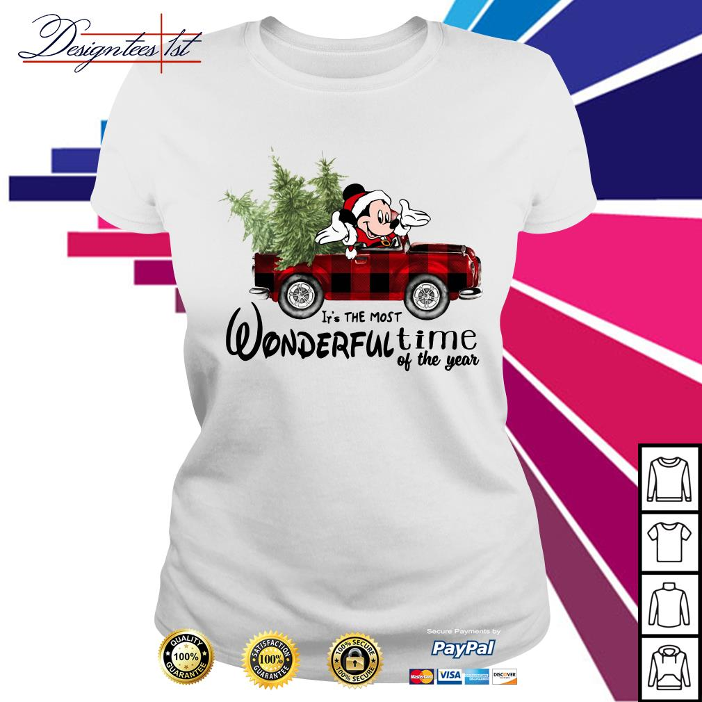 Merry Christmas Mickey red car it's the most wonderful time of the year Ladies Tee