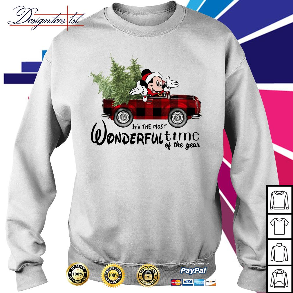 Merry Christmas Mickey red car it's the most wonderful time of the year shirt, sweater