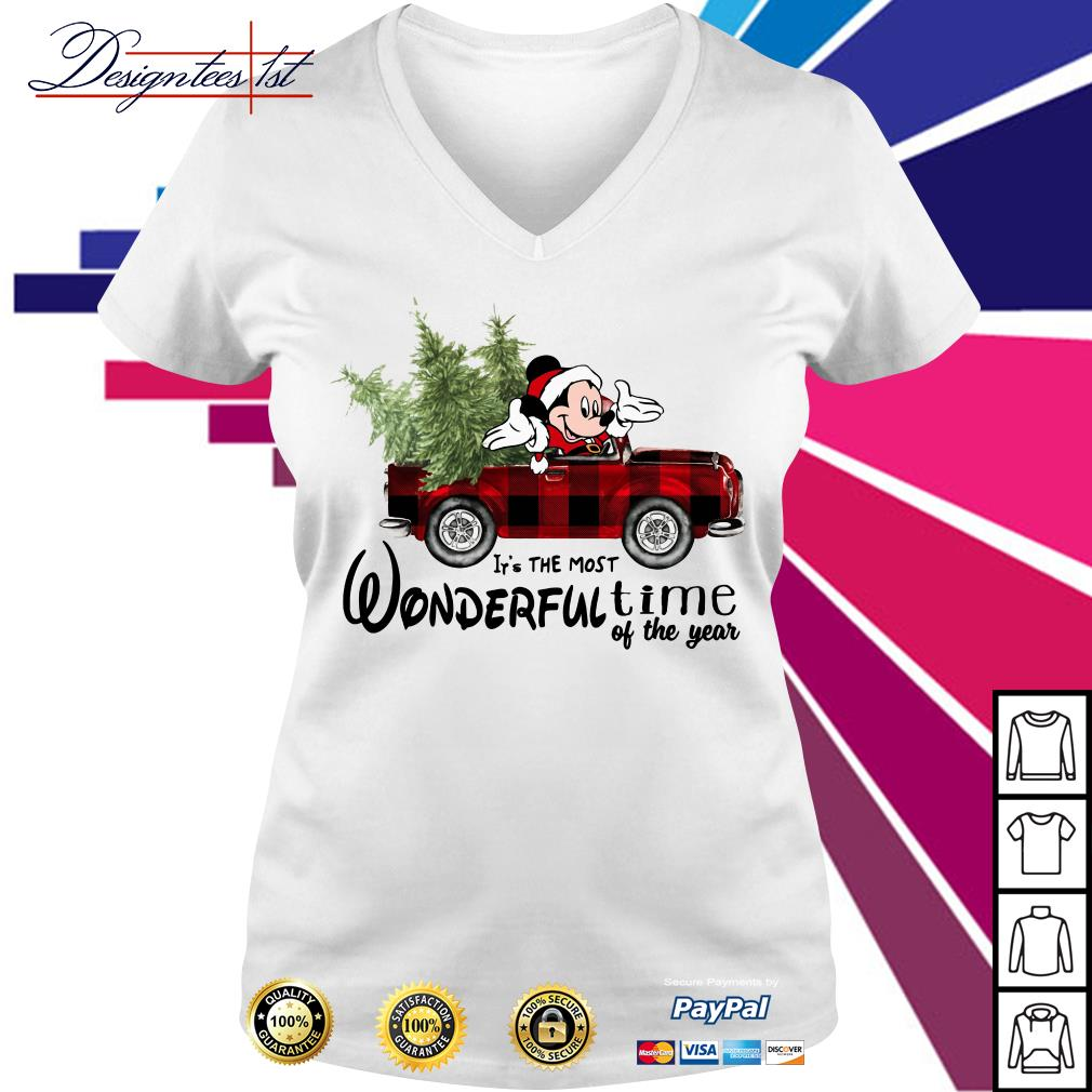 Merry Christmas Mickey red car it's the most wonderful time of the year V-neck T-shirt