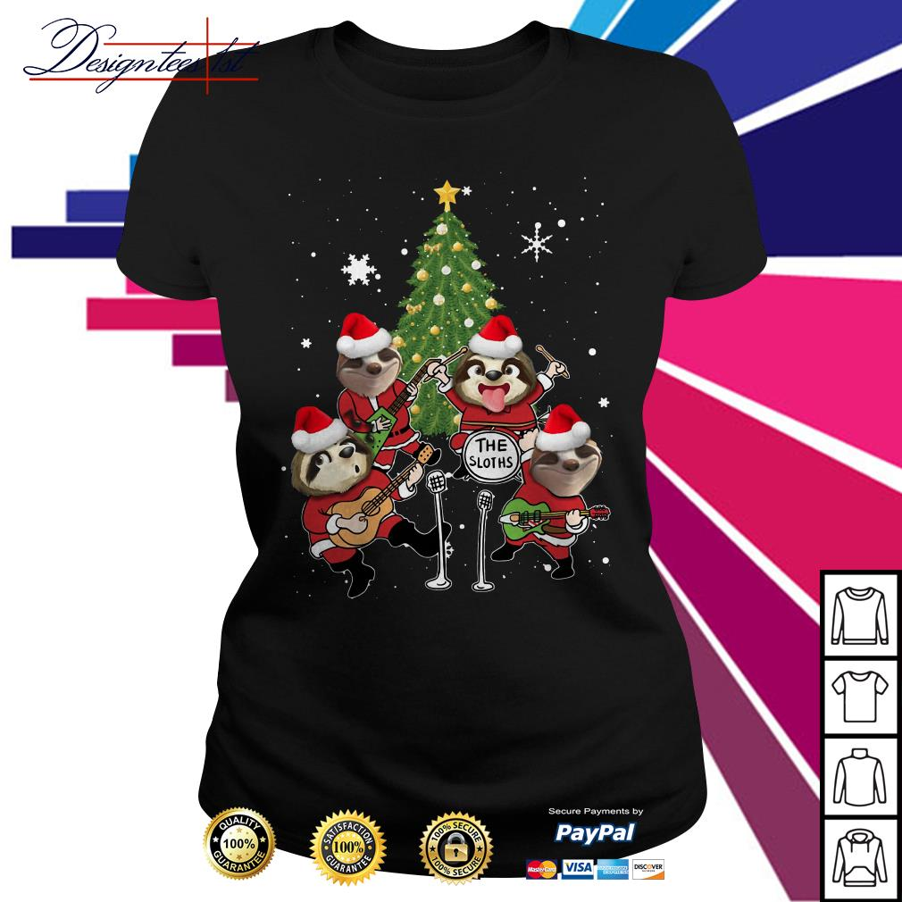 Merry Christmas the sloths band play guitar Ladies Tee