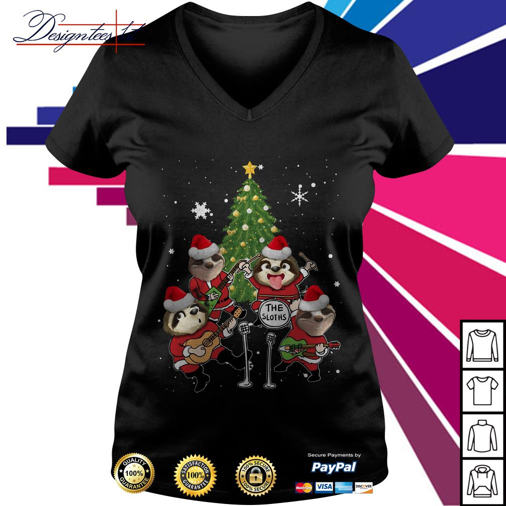 Merry Christmas the sloths band play guitar V-neck T-shirt