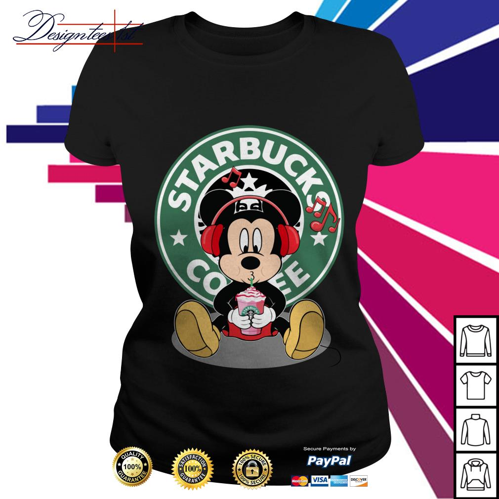 Mickey listening to music drink Starbucks coffee Ladies Tee