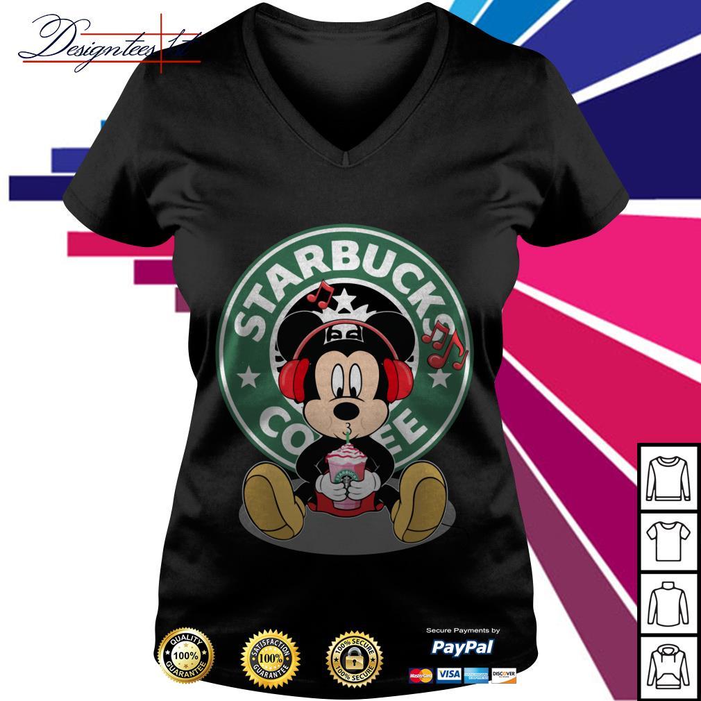 Mickey listening to music drink Starbucks coffee V-neck T-shirt