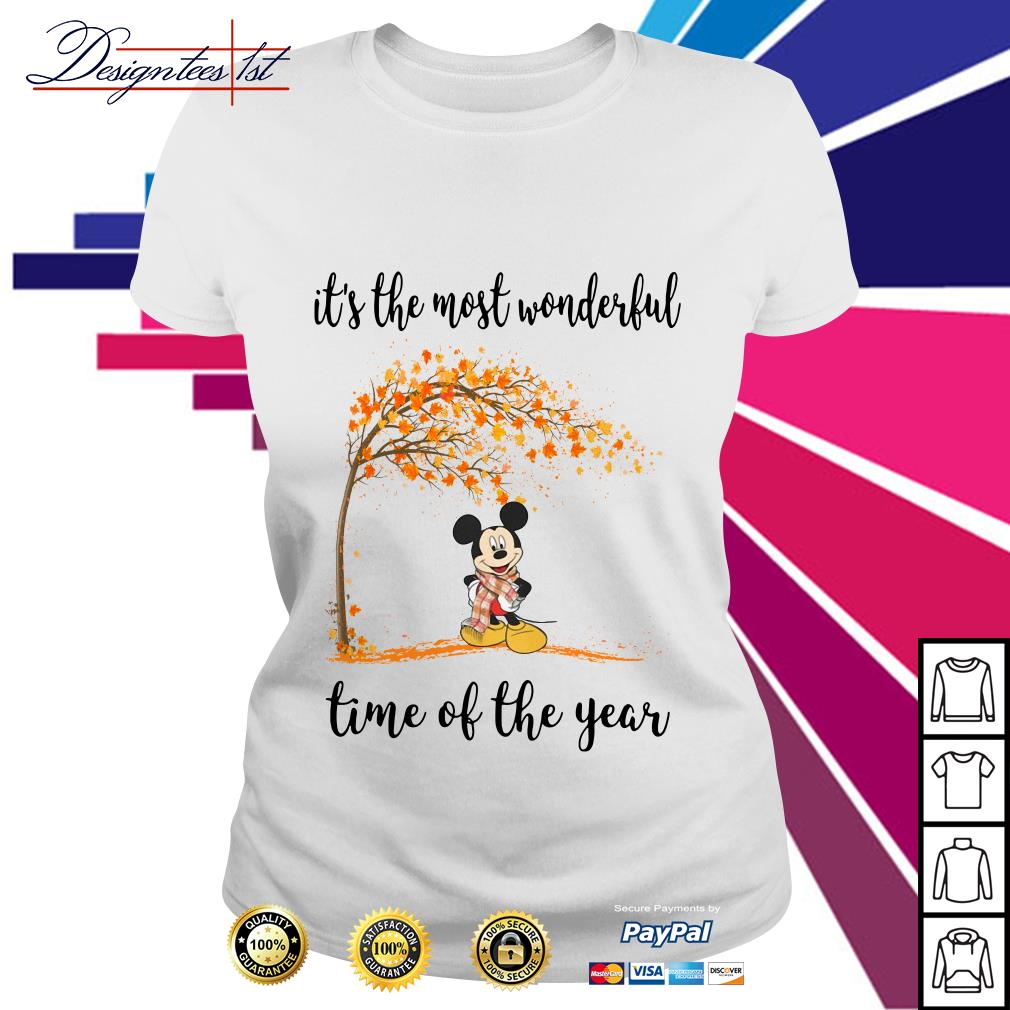 Mickey Mouse and autumn leaf tree it's the most wonderful time of year Ladies Tee