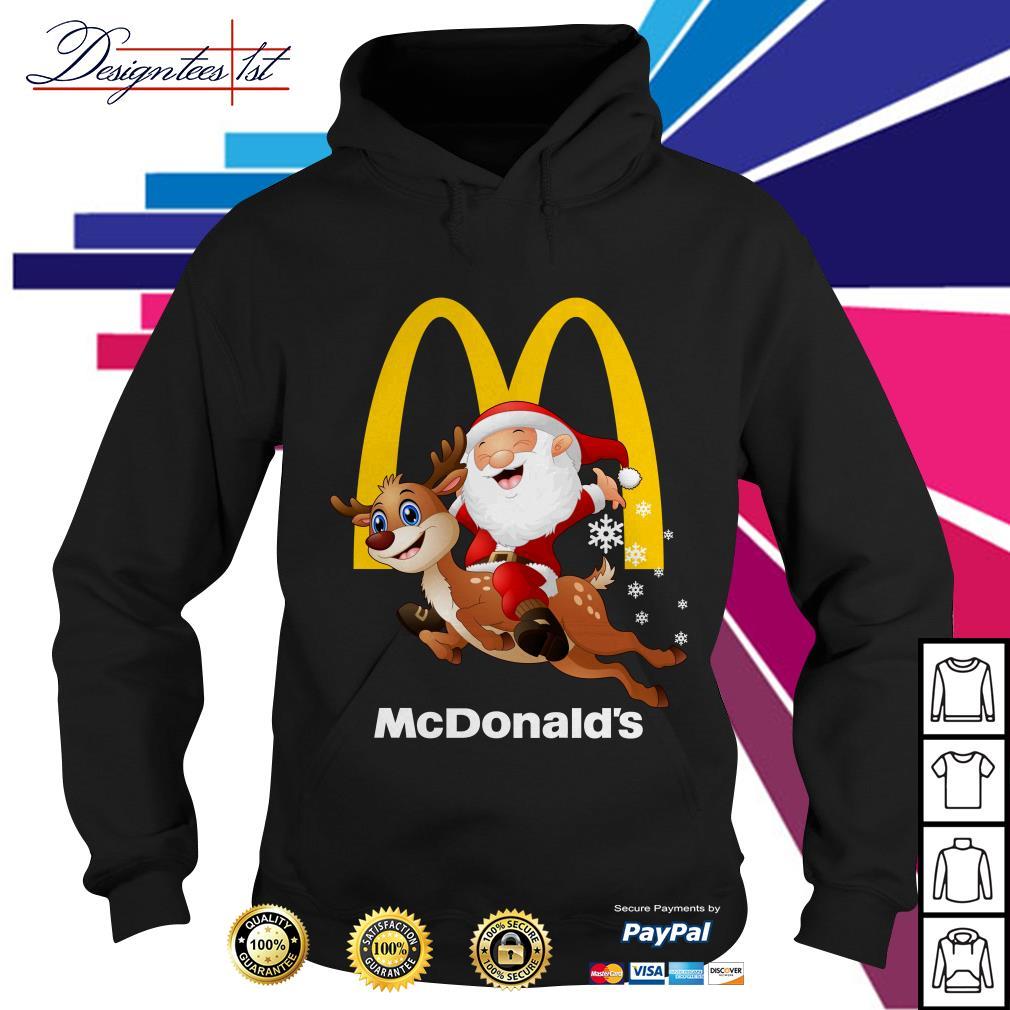 Santa Claus riding a reindeer Mcdonalds Hoodie